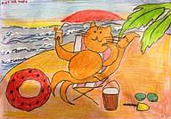 Кот на море