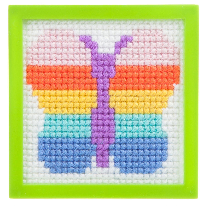 Вышивка бабочка на канве